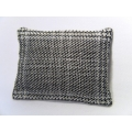 Silvery Plaid Large Rectangle Pillow