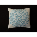 Floral Blue Large Square Pillow