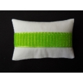 White with Green Band Medium Rectangle Pillow
