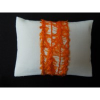 White with Orange Band Medium Rectangle Pillow