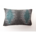 Turquiose / Charcoal Geo Medium Rectangle Pillow