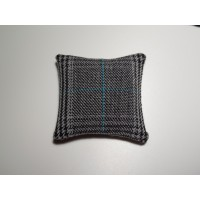 Black / Blue Plaid Medium Square Pillow