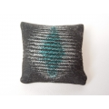 Turquiose / Charcoal Geo Small Square Pillow