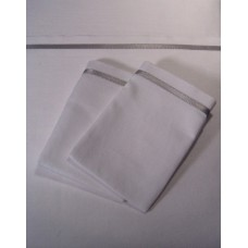 White Sheet Set with Thin Light Gray Satin Band