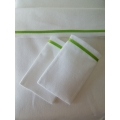 White Sheet Set with Thin Green Satin Band