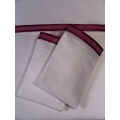 White Sheet Set with Wide Bordeaux Satin Edge