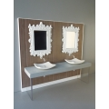 Baroque Dual Vanity with Striped Wallpaper