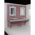 Baroque Dual Vanity with Patterned Wallpaper
