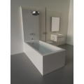 Single Vanity Bath Unit with White Tub/Shower and Toilet