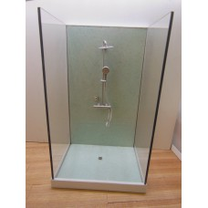 Shower Stall Unit with Aqua Terrazzo