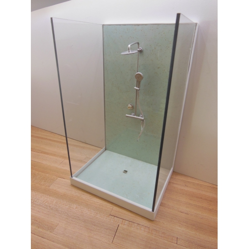 shower stall unit with aqua terrazzo