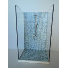 Shower Stall Unit with Blue Tile