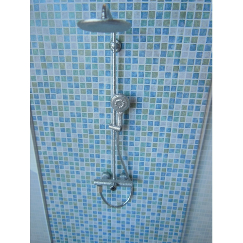 Modern Dollhouse Furniture M112 Pods Shower Stall Unit With Blue