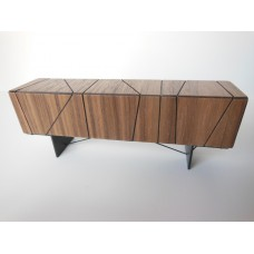 Cole Entertainment Console in Walnut with Black Base