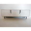 Draper Console in White with Black Steel Base