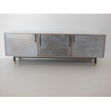 Draper Console in Distressed Wood with Black Steel Base