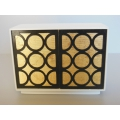 Linden 2 Door Cabinet in White/Gold/Black