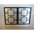 Linden 2 Door Cabinet in White/Silver/Black