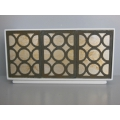 Linden 3 Door Cabinet in White/Gold/Black