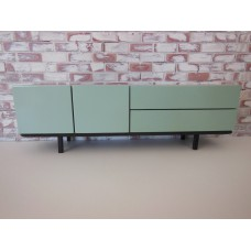 Mid Century Console in Gray with Blue Doors