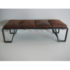 Lex Bench in Brown Distressed Fabric and Black Base