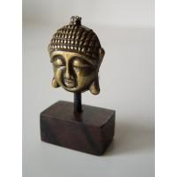 Small Gold Buddha Head on Dark Wood Base
