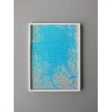 Poster Frame with White Abstract Blue Print