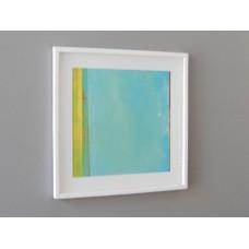 White Framed Turquoise/Yellow Modern Print