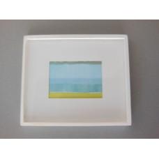 Small White Framed Light Blue/Yellow Modern Print