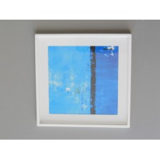 White Framed Blue Abstract Print