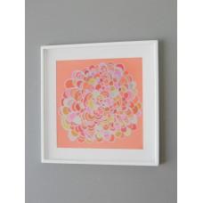 White Framed Coral Burst Abstract Print
