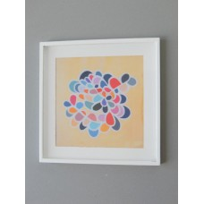 White Framed Cream Multi-Color Burst Abstract Print