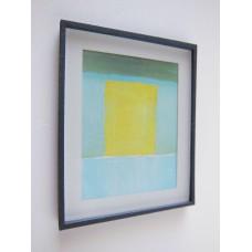 Black Framed Turquoise/Yellow Modern Print