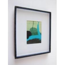 Medium Black Framed Turquoise Modern Print
