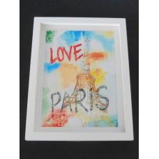 Large Love Paris Print Thick White Frame