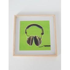 Headphones Print Wood Frame