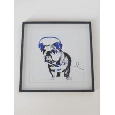 Dog with Blue Headphones Black Frame