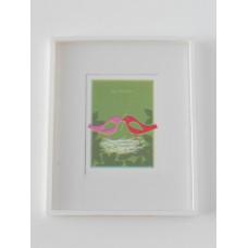 Bird Nest Print White Frame