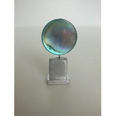 Blue Round Stone Circle on Silver Base