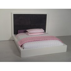 White Platform Bed with Grey 4-Panel Insert