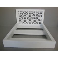 Platform Bed with Moroccan Headboard in White