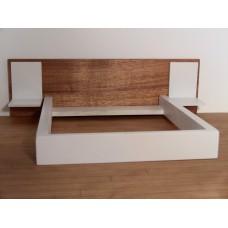 White Platform Bed with Cherry Headboard and White Nightstands