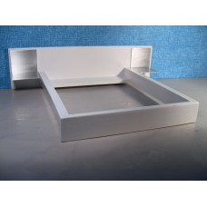 White Platform Bed with White Headboard and Aluminum Nightstands