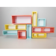 Mosaic Shelving Unit in Coral, Yellow and Blue