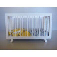 Madison Crib in White with Yellow/Gray/White Bedding