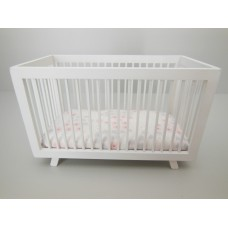 Madison Crib in White with Pink/Gray/White Bedding