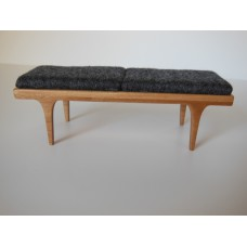 Nolan Bench in Cherry with Gray Cushion