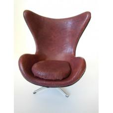 Egg Chair in Burgundy Leather Black Trim