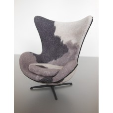 Egg Chair in Pony Print Fabric with Black Base