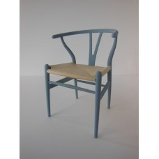 Wishbone Chair - Blue Gray with Natural Seat